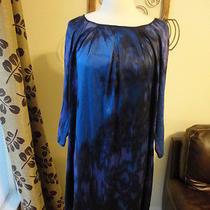 Elie Tahari Blue Purple Black Silk Artsy Tie Dye Shift Dress Size Small  Photo