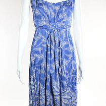 Elie Tahari Blue White Silk Sleeveless Ruffle Trim Dress Sz 10  Photo