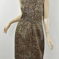 Elie Tahari Brown & Black Leopard Animal Print Stretch Cotton Sheath Dress 10/12 Photo