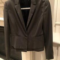 Elie Tahari Brown Blazer With One Button Ruffle at Bottom Size 8 Photo