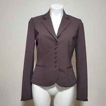 Elie Tahari Brown Blazer Wool Metal Buttons Office Business Professional Career Photo