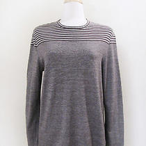Elie Tahari Brown & Gray Contrast Striped Knit Top Size Small Cotton Linen Blend Photo