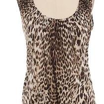 Elie Tahari Brown Leopard Print Gathered Neck Linen Knit Tank Top Sz Xs Photo