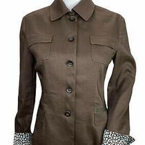 Elie Tahari Brown Linen Blend Blazer Jacket Size Small 4 6 Photo