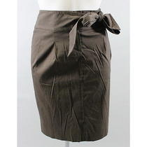 Elie Tahari Brown Tie Waist Straight Skirt Sz 6 Photo