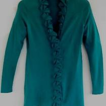 Elie Tahari Cardigan Xs Pure Merino Wool Ruffle Teal Long Blue Green Sweater Photo