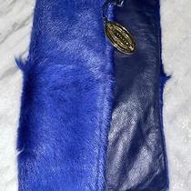 Elie Tahari Clutch Blue Learher and Fur Photo