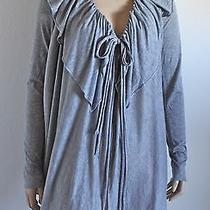 Elie Tahari Cotton & Cashmere Ruffled Draping Gray Cardigan Sweater Xs 0 2 Photo