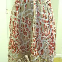 Elie Tahari Cotton Floral Print Beige Basketweave Trim Skirt Sz 2  Photo