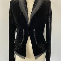 Elie Tahari Crushed Velvet Silk Blend Blazer Jacket Coat Details Woms Sz S/p Photo
