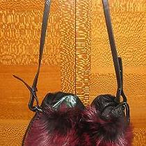 Elie Tahari Dark Reddish Fox Fur-Trimmed Leather Handbag W/storage Bag Photo