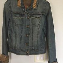 Elie Tahari Distressed Frayed Beaded Jute Floral Cuffs Buttons Denim Jacket S P Photo