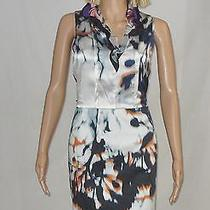 Elie Tahari Dress Size 10 Clover Sleeveless Ruffle Collar Silk Blend Tie Dye New Photo