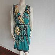 Elie Tahari Dress Size M Green Floral Print  100% Silk Belted Photo