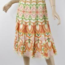 Elie Tahari Gorgeous Embroidered Lightweight Linen Orange/green Flared Skirt M 8 Photo