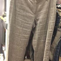 Elie Tahari Grey Dress Pants Linen Blend Straight Leg Sz 8 Preowned Photo