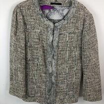 Elie Tahari Grey Tweed Blazer With Silk Trim Size 6 Photo