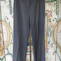 Elie Tahari Grey Wool Dress Pants Slacks Flat Front Pink Trim 10 Neiman Marcus Photo