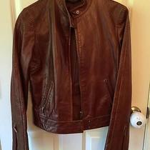 Elie Tahari Leather Motorcycle Jacket  Deep Cognac Photo