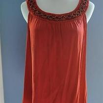 Elie Tahari Lg Orange Silk Blend Sleeveless Blouse Wood Ring Embellished Neck Photo