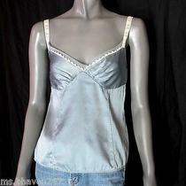 Elie Tahari Light Blue White Silk Tank Top Cami Blouse Womens Clothing Sz S Photo