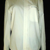 Elie Tahari Lightweight Ivory Zip-Front Mandarin Collar Stretch Top Size S Photo