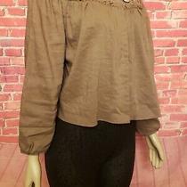 Elie Tahari Lt Size L Brown Linen Blend Embellished Pleated Women's Jacket. C Photo