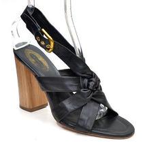 Elie Tahari Natasha Black Leather Strappy Sandals Shoes Ladies 40.5 Heels New Photo