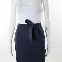 Elie Tahari Navy Cotton Tie Straight Skirt Sz 10 Photo