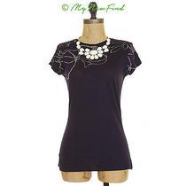 Elie Tahari Neve Knit Tee Top Cotton Abstract Metallic Accent Black Xs S B2 Photo