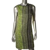 Elie Tahari New Alyse Green Metallic Textured Printed Wear to Work Dress 12 Bhfo Photo