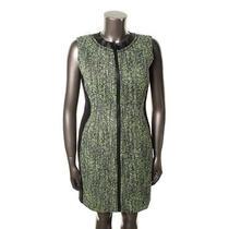 Elie Tahari New Mila Black Tweed Zip Front Sheath Wear to Work Dress 14 Bhfo Photo