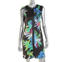 Elie Tahari New Mila Multi Floral Print Contrast Trim Wear to Work Dress 14 Bhfo Photo