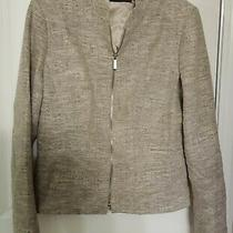 Elie Tahari Nordstrom Gabardine/tweed Zip Front Jacket Blazer Size 12.  Photo