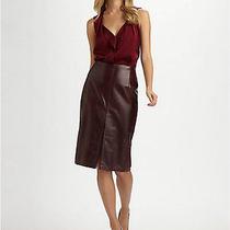 Elie Taharinwt 798 Burgundy Lacquered Silken Supple Leather Pencil Skirt 4 Photo