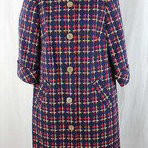 Elie Tahari Nwt Navy Red Beige Plaid 3/4 Sleeve Jacket Size 8 Photo