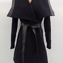 Elie Tahari Nwt Womens Wool Blend Black Tie Belt Peacoat With Leather Trimming 2 Photo