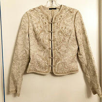 Elie Tahari Off-White Embroidered Cotton Light Jacket / Blazer Size Xs 598 Photo