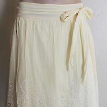 Elie Tahari Pale Yellow Silk Blend Lace Eyelet Skirt - Tie Waist - Sz 10 Photo