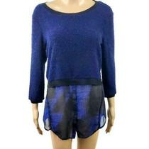 Elie Tahari Pullover Dressy Sweater Blue Size Small Blue Long Sleeve Dressy  Photo