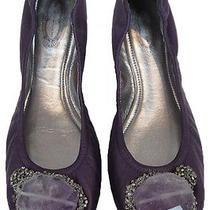 Elie Tahari Purple Leather Pumps With Quartz Stone Detail 38 Photo