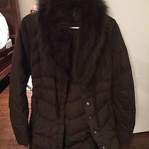 Elie Tahari Rabbit Fur-Collar Puffer Coat Brown Size Xs (Rabbit Fur)  Photo
