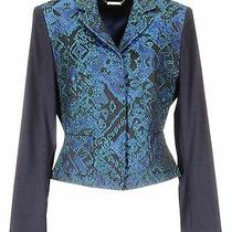 Elie Tahari Roni Jacquard Jacket Blazer 498 Navy Size 12 Nwt  Photo