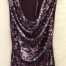 Elie Tahari Rosalina New Sequin Tuscan Purple Jersey Rushed Blouse S Mrsp 88 Photo