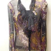 Elie Tahari Sheer Silk Black With Other Colors Ruffles Buttons and Lacey Xs Photo