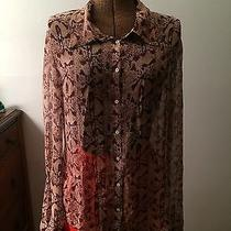 Elie Tahari Silk Snake Print Chiffon Gauzy Mother of Pearl Buttoned Blouse M-L Photo