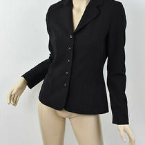 Elie Tahari Solid Black Virgin Stretch Wool Seamed Back Button Blazer Jacket S 4 Photo