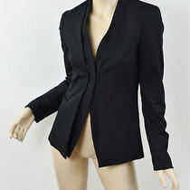 Elie Tahari Solid Black Virgin Wool/cotton Collarless Seamed Blazer Jacket 2 Xs Photo