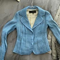 Elie Tahari Sz 2 Linen Cotton Jacket Blazer Fabulous Blue Photo