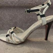 Elie Tahari Sz 38.5 (Us 8 or 8.5) Beige Leather Snakeskin Print Strappy Sandals Photo